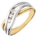 Trilogy Ring Precious Nest - Nympheade - yellow and white Gold - 3 diamonds - 18 carats