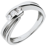 Trilogy Ring Precious Nest - Ritournelle - white gold - 0.21 carats - 3 diamonds - 18 carats