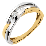 jewelry Trilogy Ring Precious Nest - Serenade - Yellow and White Gold - 3 diamonds - 18 carats