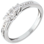wedding Trilogy ring white gold paved - 0.34 carat