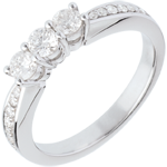 Trilogy ring white gold paved - 0.5 carat