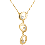 Trio necklace yellow gold - 3 diamonds