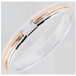 Trouwring Belofte - roze goud en wit goud - klein model