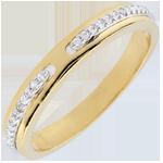 Trouwring Belofte - twee goudkleuren en diamanten - klein model