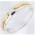 Trouwring Belofte - volledig goud - twee goudkleuren - 18 karaat