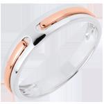 Trouwring Belofte - volledig goud - wit goud, roze goud - 18 karaat