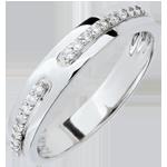 Trouwring Belofte - wit goud en diamanten - groot model - 18 karaat