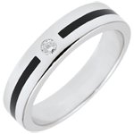 Trouwring Chiaroscuro - Diamanten Lijn - Klein model - 9 karaat witgoud en zwarte lak