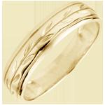 Trouwring Frisheid - Palm variatie gegraveerd geel goud - 9 karaat