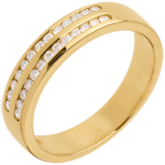 Trouwring Geel Goud betegeld - 2 lijnen rails - 0.21 karaat - 26 Diamanten