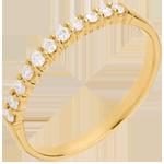 Trouwring Geel Goud betegeld – klauwen - 11 Diamanten