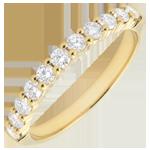 Trouwring geel goud semi betegeld - geklauwd - 0,4 karaat - 11 diamanten
