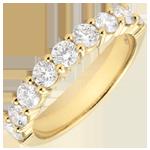 Trouwring geel goud semi betegeld - geklauwd - 1 karaat - 9 diamanten
