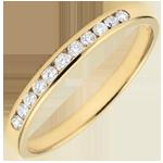 Trouwring geel goud semi betegeld - staaf - 0,15 karaat - 11 diamanten