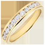 Trouwring geel goud semi betegeld - staaf - 0,4 karaat - 11 diamanten