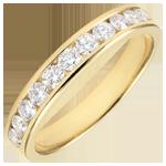 Trouwring geel goud semi betegeld - staaf - 0,5 karaat - 11 diamanten
