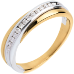 Trouwring Geel Goud Wit Goud rails - 14 Diamanten