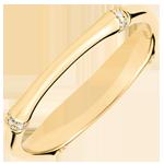 Trouwring Gewijde Jungle - Meerdere diamanten 2 mm - geelgoud 18 karaat