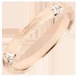Trouwring Gewijde Jungle - Meerdere diamanten 3 mm - geborsteld rozegoud 18 karaat