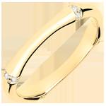 Trouwring Gewijde Jungle - Meerdere diamanten 3 mm - geelgoud 18 karaat