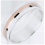 Trouwring - Large Duo volledig goud - roze goud en wit goud