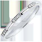 Trouwring Oorsprong- Jonkvrouw - wit goud 9 karaat en diamanten