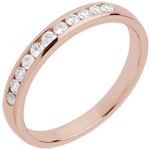 Trouwring Roze Goud half betegeld - rails - 11 Diamanten
