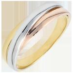 Juwelier Trouwring Saturnus Diamant - volledig goud - drie goudkleuren - 18 karaat
