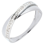Trouwring Saturnus Duo - diamanten - wit goud - 9 karaat
