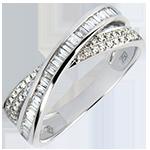 Trouwring Saturnus - Duo van diamanten - wit goud 9 karaat en diamanten