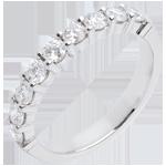 Trouwring Wit Goud betegeld – klauwen - 0.75 karaat - 9 Diamanten
