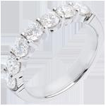 Trouwring Wit Goud betegeld - klauwen - 1.2 karaat - 7 Diamanten