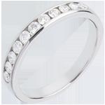 Trouwring Wit Goud betegeld – rails - 0.4 karaat - 11 Diamanten