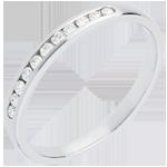 Trouwring Wit Goud betegeld – rails -11 Diamanten: 0.15 karaat