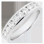 Trouwring wit goud semi betegeld - staaf - 0,65 karaat - 10 diamanten