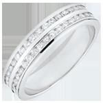 Trouwring wit goud semi betegeld - staaf 2 rijen - 0,32 karaat - 32 diamanten