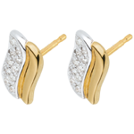 gift woman Two Gold and Diamond Magical Icon Stud Earrings