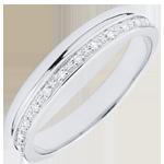 Verighetă Eleganţă aur alb de 9K şi diamante