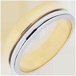 Verighetă Olympia - Model mare - bicoloră - aur alb şi aur galben de 9K