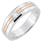 Verighetă Star Diamant - Model mic - aur alb şi aur roz de 9K