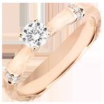 Verlobungsring Heiliger Urwald - 0.2 Karat Diamant - 18 Karat gebürstetes Rotgold