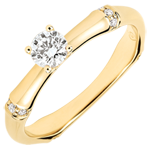 Frau Verlobungsring Heiliger Urwald - 0.2 Karat Diamant - 18 Karat Gelbgold