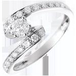 Hochzeit Verlobungsring Solitär Schicksal - Nefertiti - Weißgold - Diamant 0.28 Karat