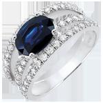 Verlovingsring Destinée - variatie Hertogin - saffier 1.7 karaat en diamanten -wit goud 18 karaat