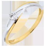 Bestel Online Verlovingsring Diamanten solitair Nid Précieux -Dova - 0.03 karaat Diamant - Geel Goud Wit Goud - 9 karaat
