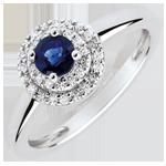 Online Bestellen Verlovingsring - dubbele halo - saffier 0.3 karaat en diamanten -wit goud 18 karaat