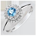 Verlovingsring - dubbele halo - topaas 0.3 karaat en diamanten -wit goud 18 karaat