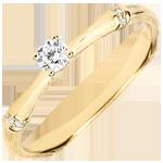 Verlovingsring Gewijde Jungle - diamant 0.09 karaat - geborsteld geelgoud 18 karaat