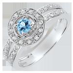 Verlovingsring - Lady - topaas 0.2 karaat en diamanten -wit goud 18 karaat