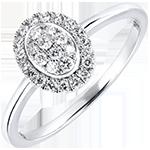 Verlovingsring Overvloed - Cluster - 18 karaat witgoud met diamanten
